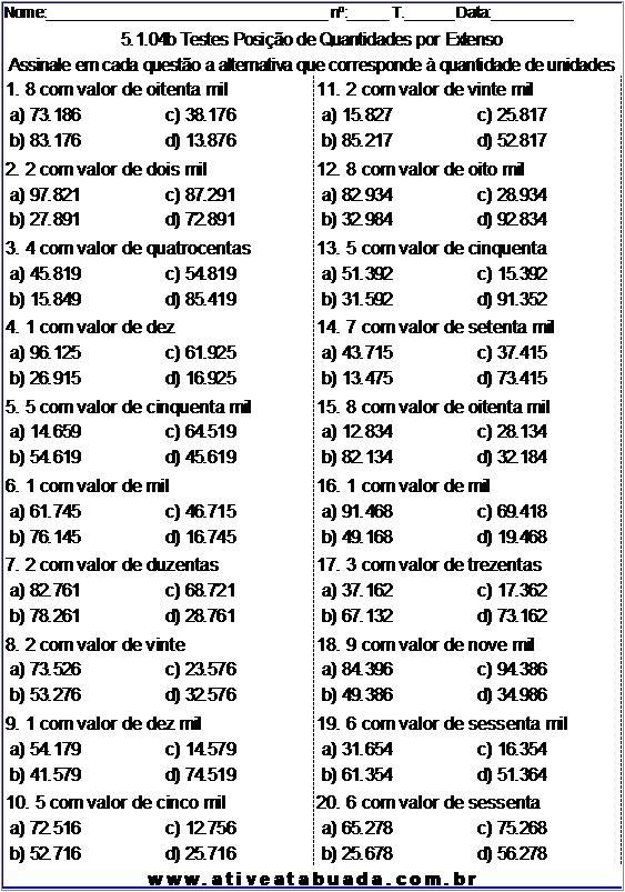 Atividade 5.1.04b Testes Posição de Quantidades por Extenso