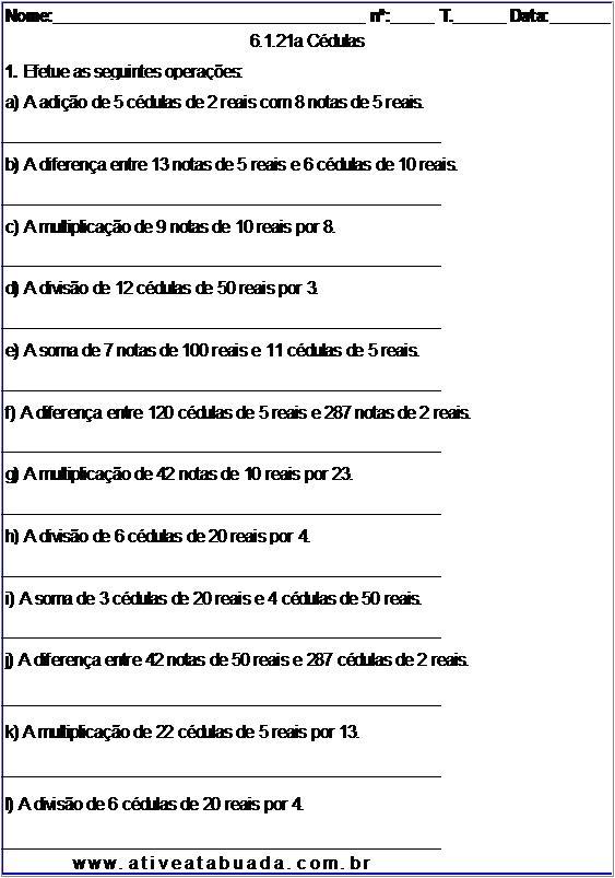 Atividade 6.1.21a Cédulas