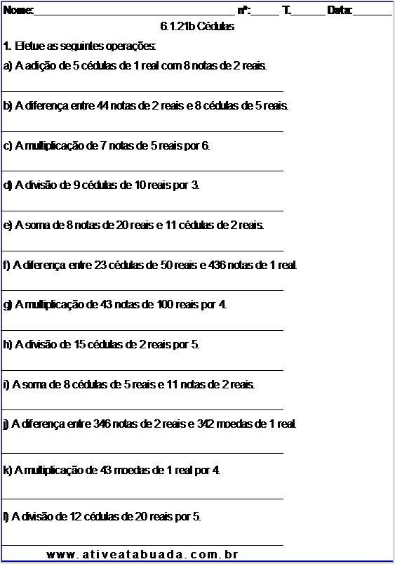 Atividade 6.1.21b Cédulas