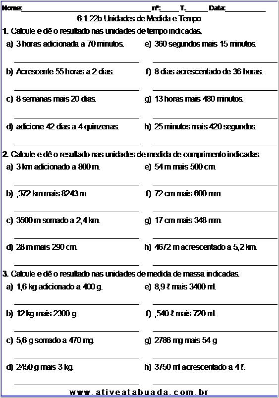 Atividade 6.1.22b Unidades de Medida e Tempo