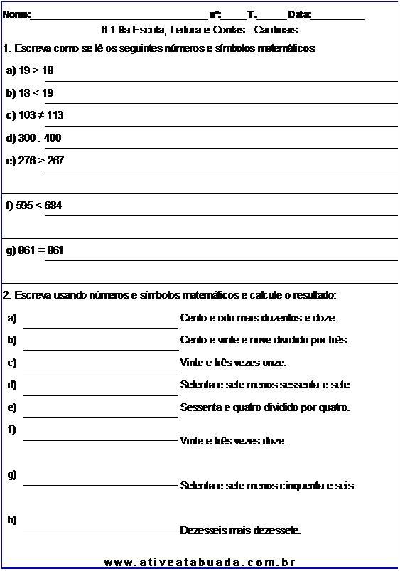 Atividade 6.1.9a Escrita, Leitura e Contas - Cardinais