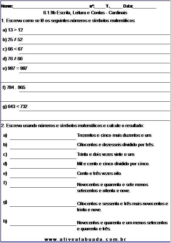 Atividade 6.1.9b Escrita, Leitura e Contas - Cardinais
