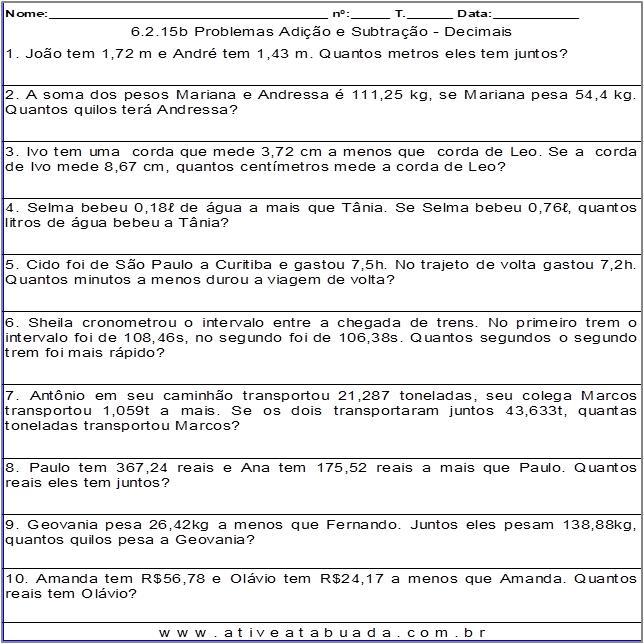 Atividade 6.2.15b Problemas Adição e Subtração - Decimais