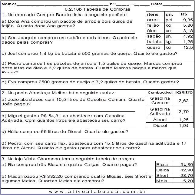 Atividade 6.2.16b Tabelas de Compras