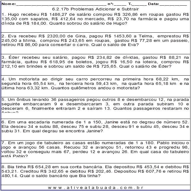 Atividade 6.2.17b Problemas Adicionar e Subtrair