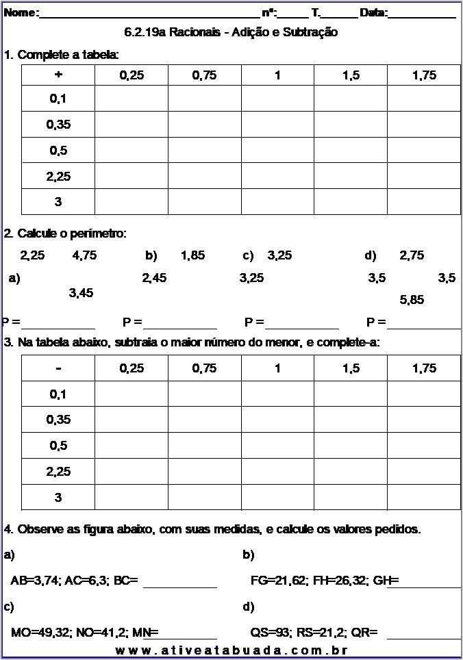 Atividade 6.2.19a Racionais - Adição e Subtração