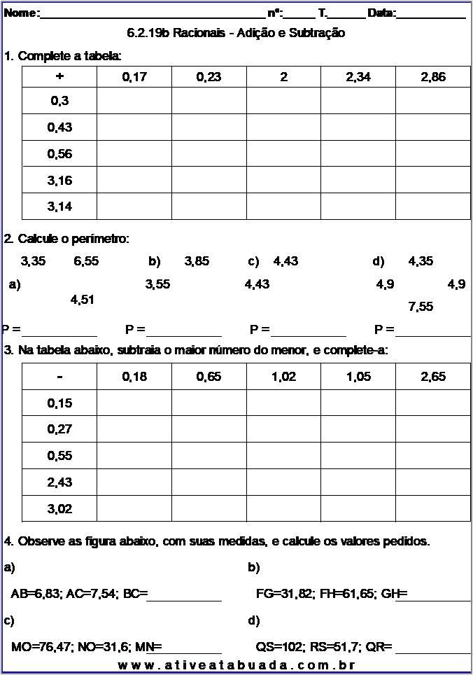 Atividade 6.2.19b Racionais - Adição e Subtração