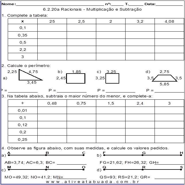 Atividade 6.2.20a Racionais - Multiplicação e Subtração