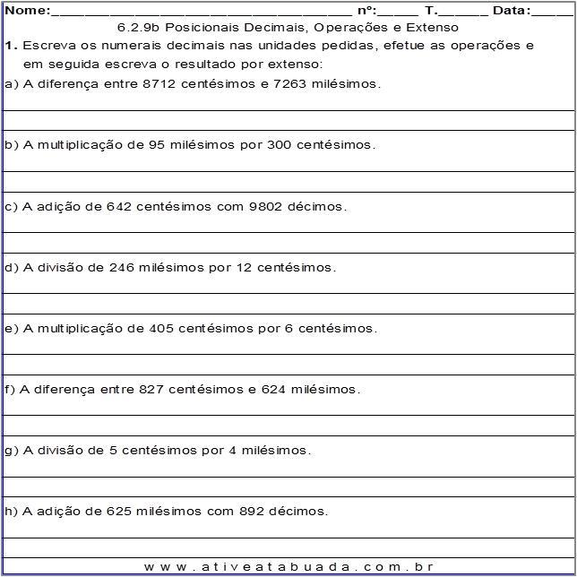 Atividade 6.2.9b Posicionais Decimais, Operações e Extenso
