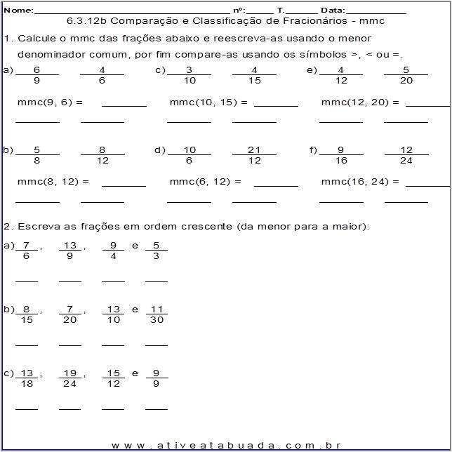 Atividade 6.3.12b Comparação e Classificação de Fracionários - mmc