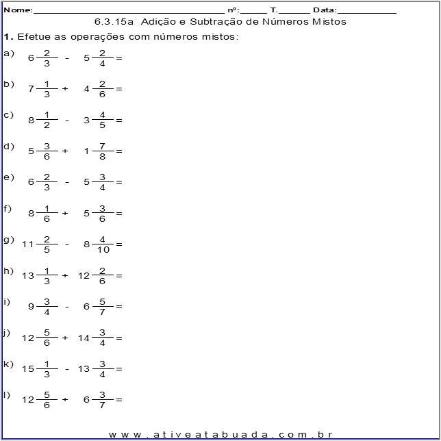 Atividade 6.3.15a  Adição e Subtração de Números Mistos