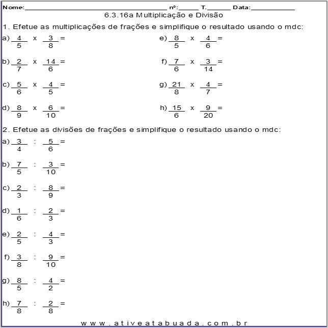 Atividade 6.3.16a Multiplicação e Divisão