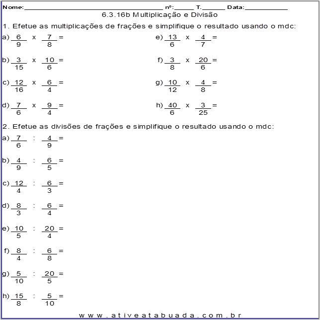 Atividade 6.3.16b Multiplicação e Divisão