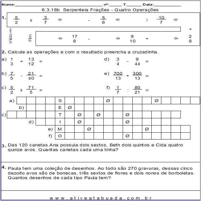 Atividade 6.3.18b  Serpenteia Frações - Quatro Operações
