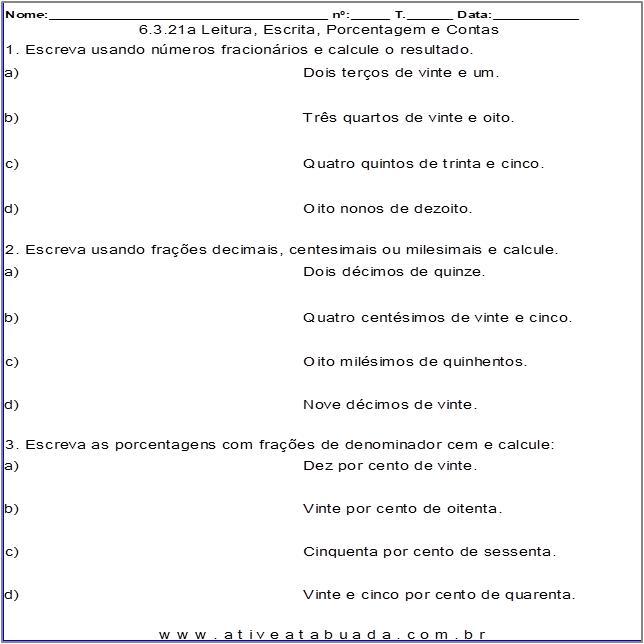 Atividade 6.3.21a Leitura, Escrita, Porcentagem e Contas