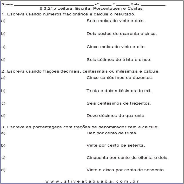 Atividade 6.3.21b Leitura, Escrita, Porcentagem e Contas