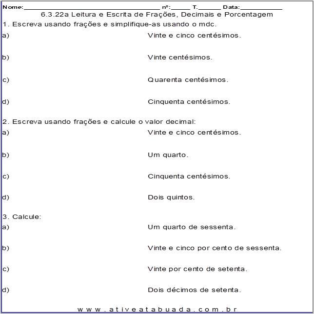 Atividade 6.3.22a Leitura e Escrita de Frações, Decimais e Porcentagem