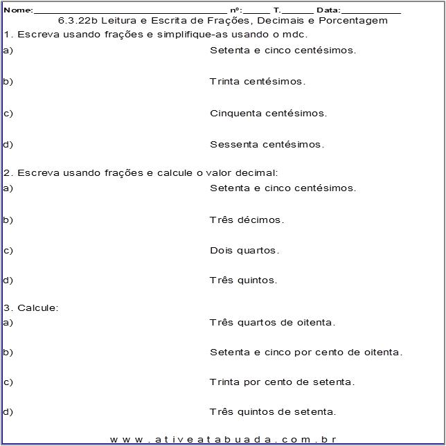 Atividade 6.3.22b Leitura e Escrita de Frações, Decimais e Porcentagem