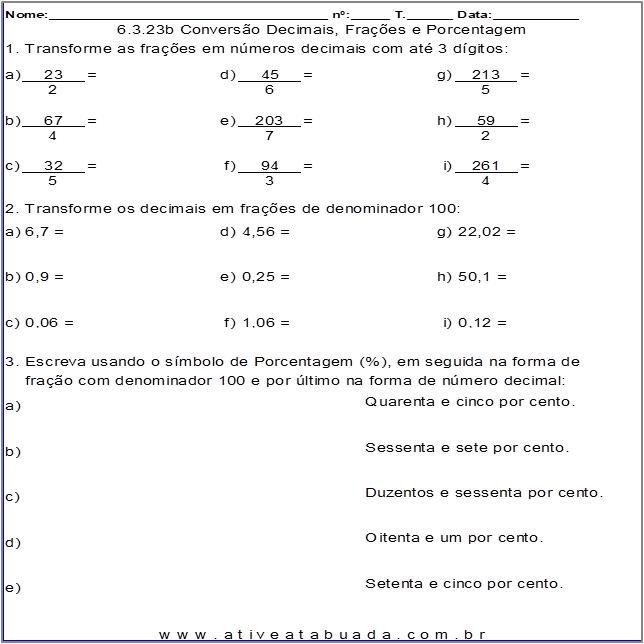 Atividade 6.3.23b Conversão Decimais, Frações e Porcentagem