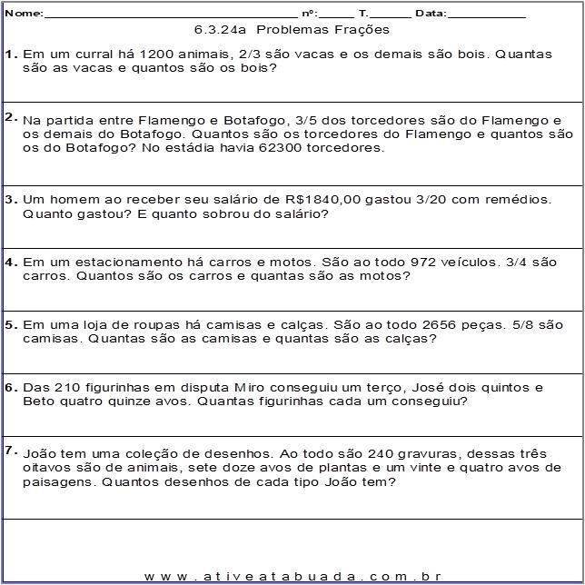 Atividade 6.3.24a  Problemas Frações