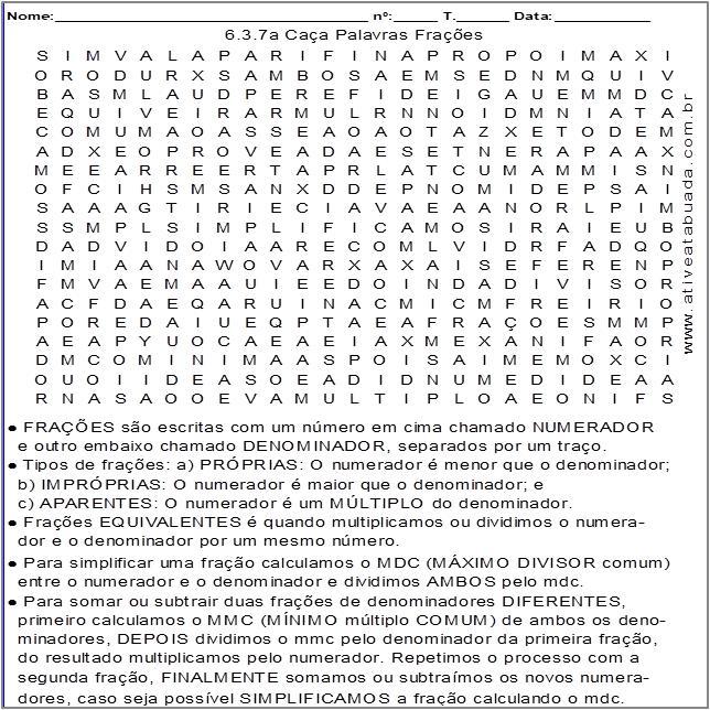 Atividade 6.3.7a Caça Palavras Frações