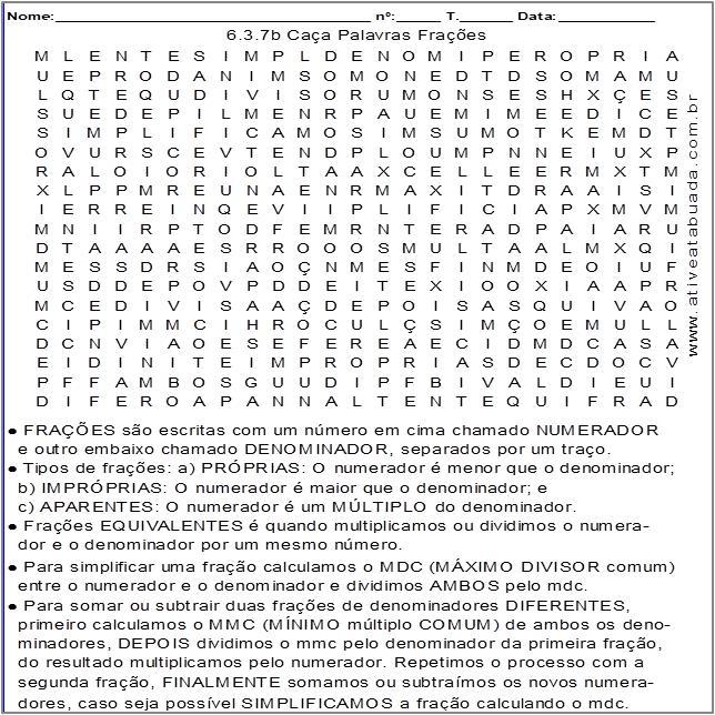 Atividade 6.3.7b Caça Palavras Frações