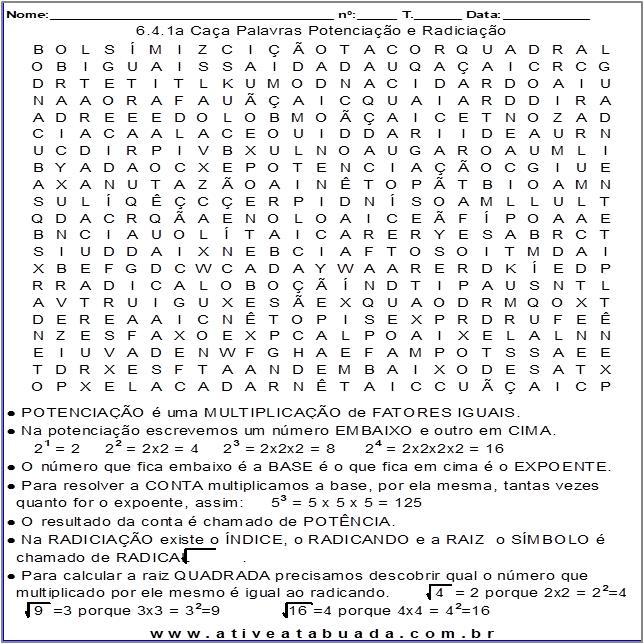 Atividade 6.4.1a Caça Palavras Potenciação e Radiciação