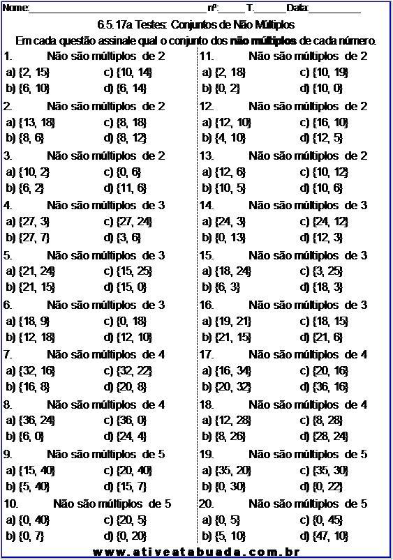 Atividade 6.5.17a Testes: Conjuntos de Não Múltiplos