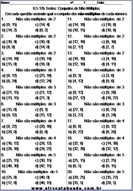 Atividade 6.5.17b Testes: Conjuntos de Não Múltiplos