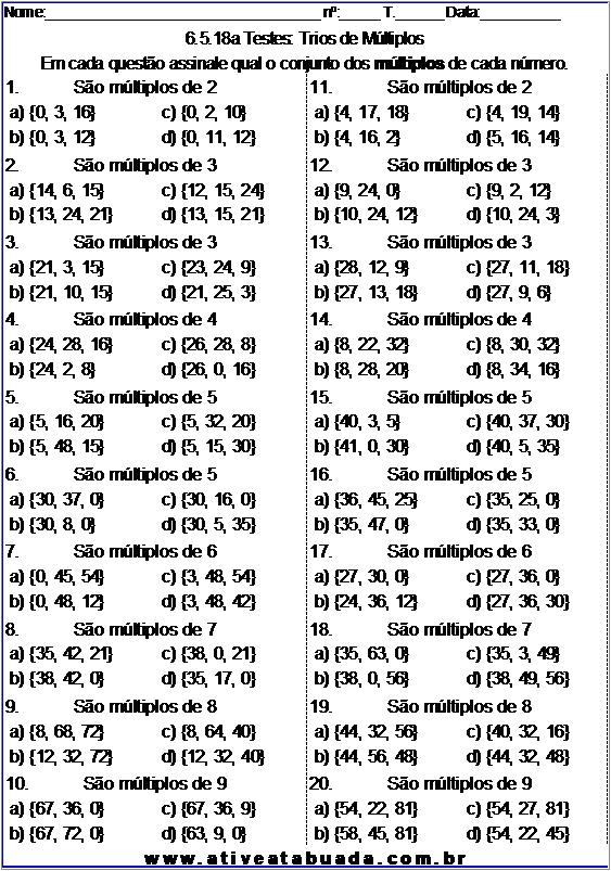 Atividade 6.5.18a Testes: Trios de Múltiplos