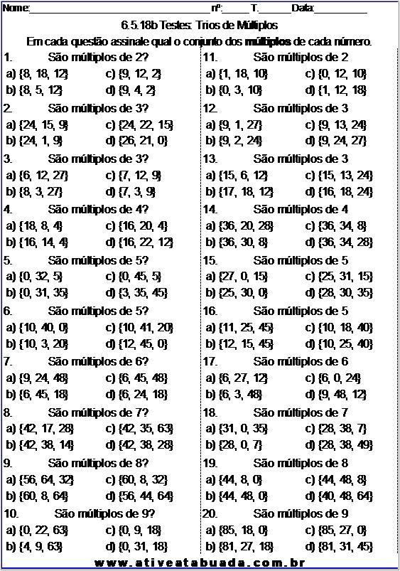 Atividade 6.5.18b Testes: Trios de Múltiplos