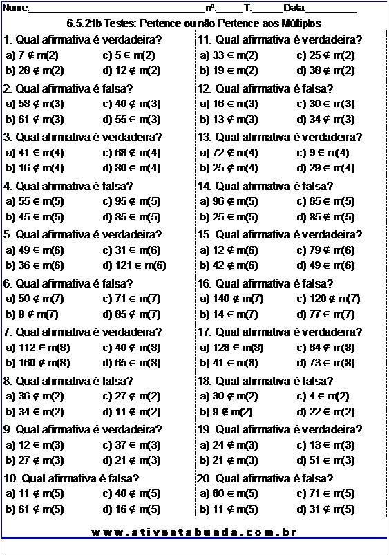 Atividade 6.5.21b Testes: Pertence ou não Pertence aos Múltiplos