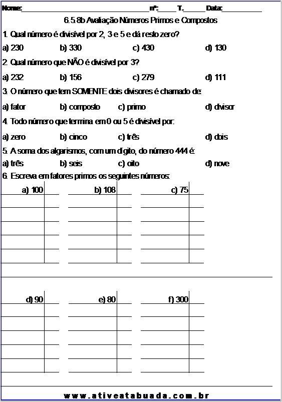 Atividade 6.5.8b Avaliação Números Primos e Compostos