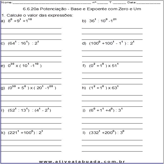 Atividade 6.6.20a Potenciação - Base e Expoente com Zero e Um