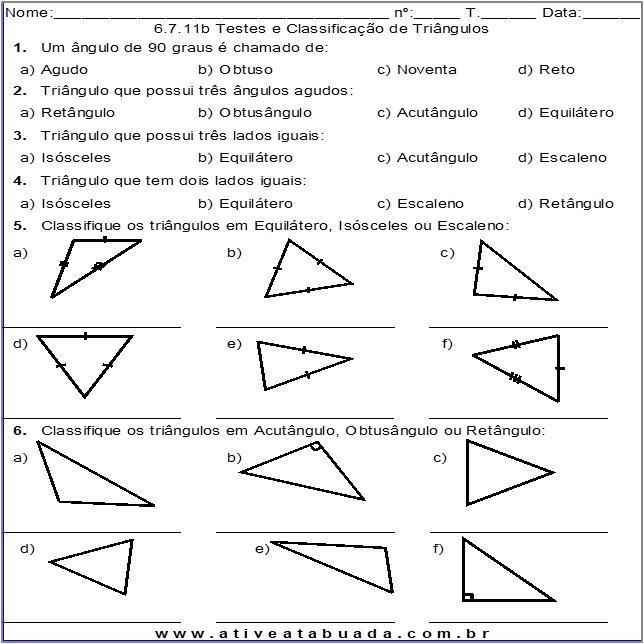 Atividade 6.7.11b Testes e Classificação de Triângulos