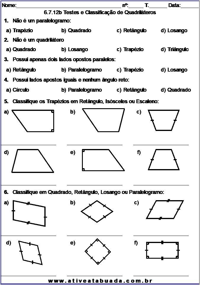 Atividade 6.7.12b Testes e Classificação de Quadriláteros