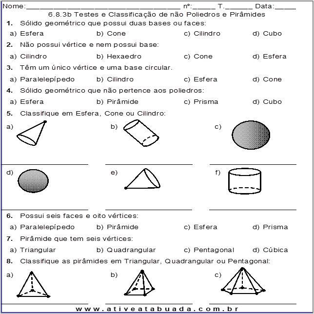 Atividade 6.8.3b Testes e Classificação de não Poliedros e Pirâmides