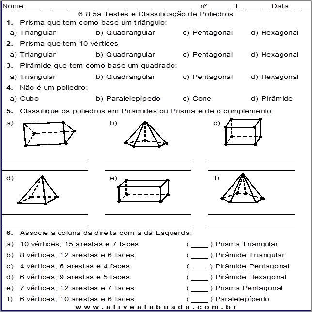 Atividade 6.8.5a Testes e Classificação de Poliedros