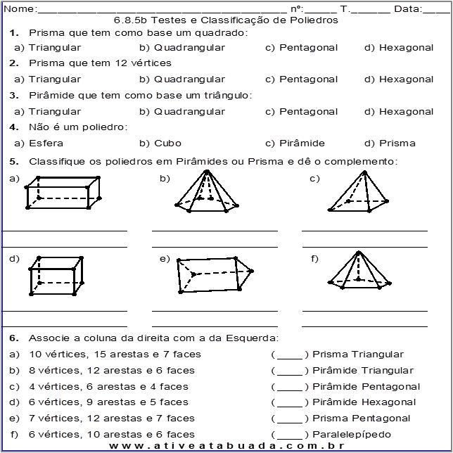 Atividade 6.8.5b Testes e Classificação de Poliedros