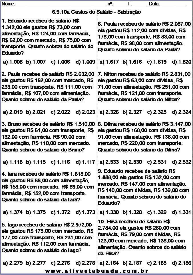 Atividade 6.9.10a Gastos do Salário - Subtração