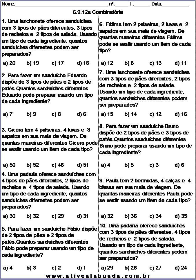 Atividade 6.9.12a Combinatória