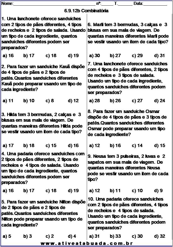 Atividade 6.9.12b Combinatória