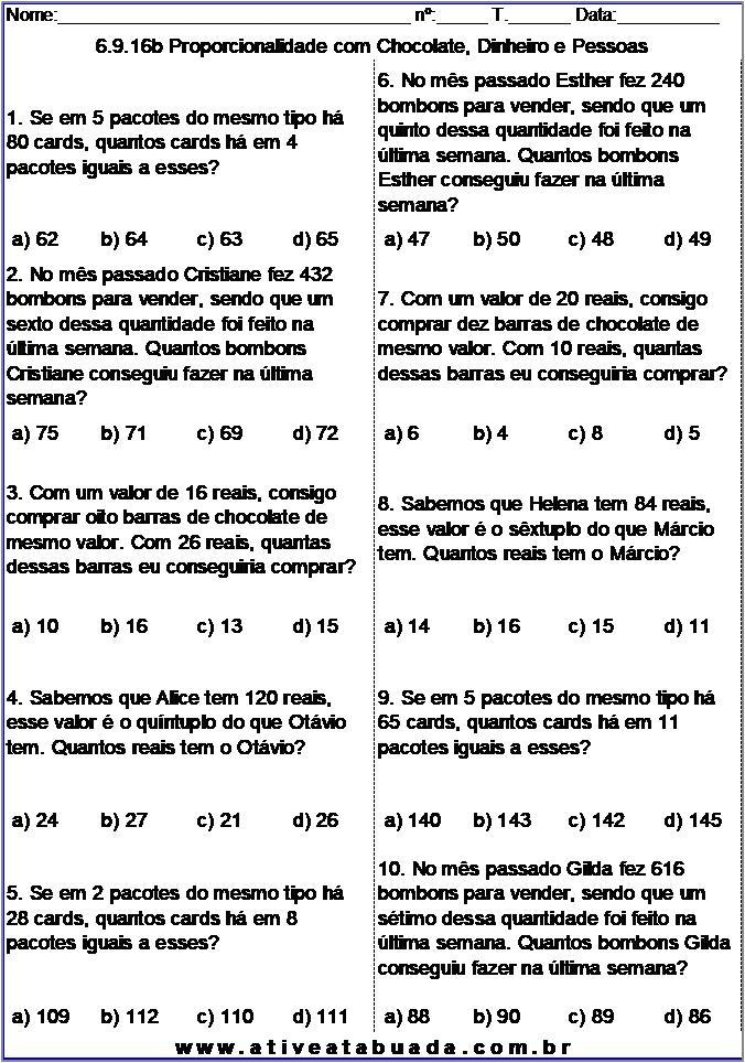 Atividade 6.9.16b Proporcionalidade com Chocolate, Dinheiro e Pessoas