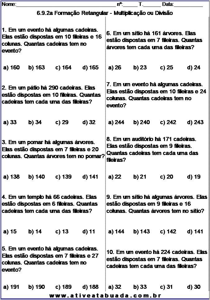 Atividade 6.9.2a Formação Retangular - Multiplicação ou Divisão
