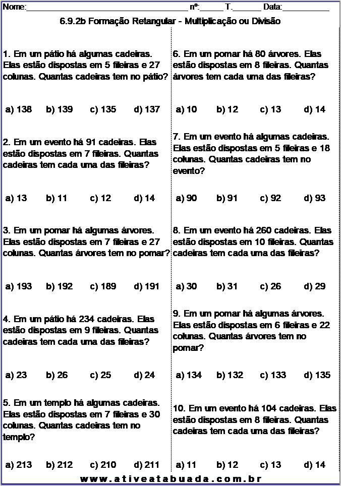 Atividade 6.9.2b Formação Retangular - Multiplicação ou Divisão
