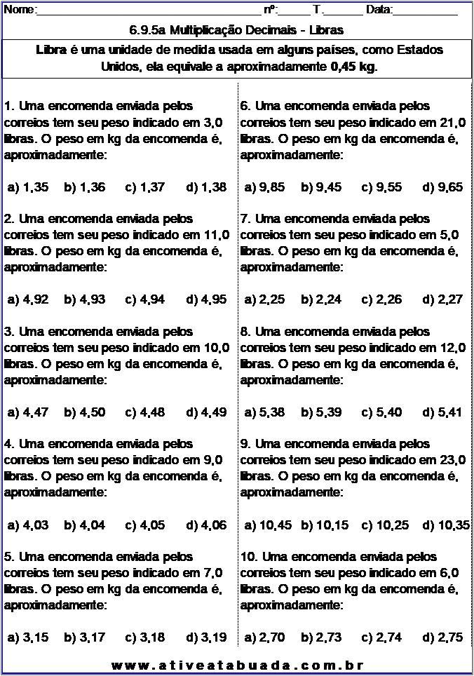Atividade 6.9.5a Multiplicação Decimais - Libras