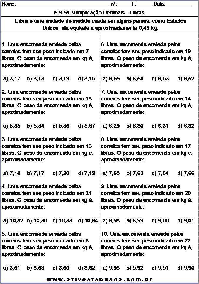 Atividade 6.9.5b Multiplicação Decimais - Libras