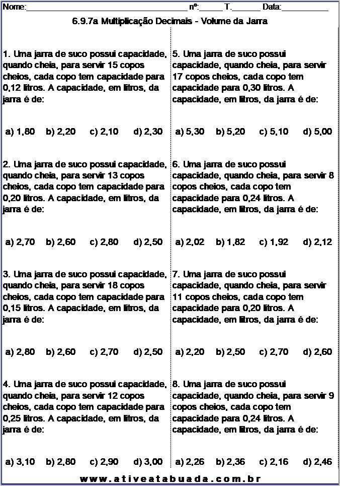 Atividade 6.9.7a Multiplicação Decimais - Volume da Jarra