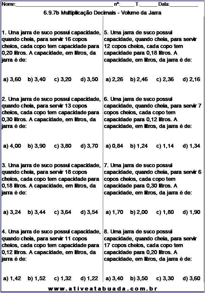 Atividade 6.9.7b Multiplicação Decimais - Volume da Jarra