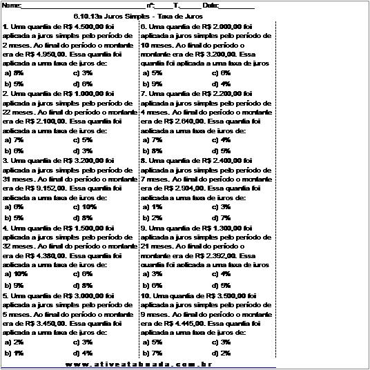 Atividade 6.10.13a Juros Simples - Taxa de Juros